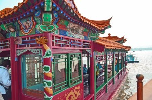Colorful Dragon Ferry on Lake Kunming at the Summer Palace, Beijing.