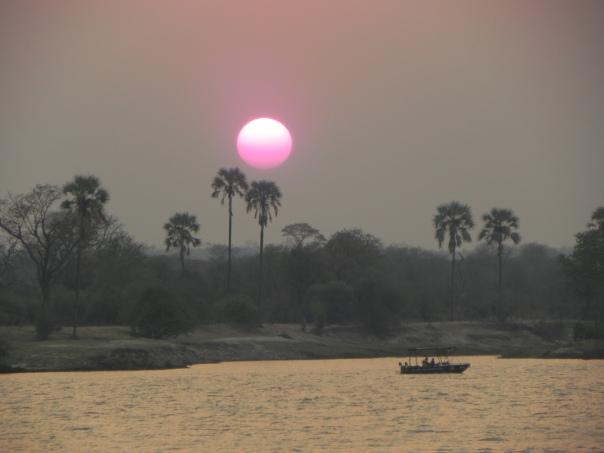 Sunset on the Zambezi, Zambia, Africa.
