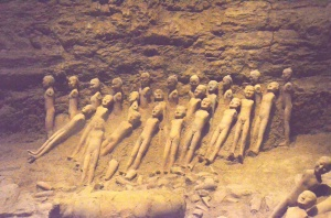 In the underground burial complex of Emperor Jing di.