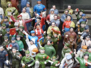 Dusty figurines reminiscent of the Mao-era in the Dongtai Road flea market.