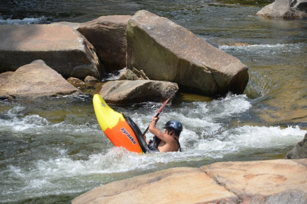 Wilson Creek's rugged gorge offers skilled kayakers 2.3 miles of big challenges including class IV whitewater rapids.