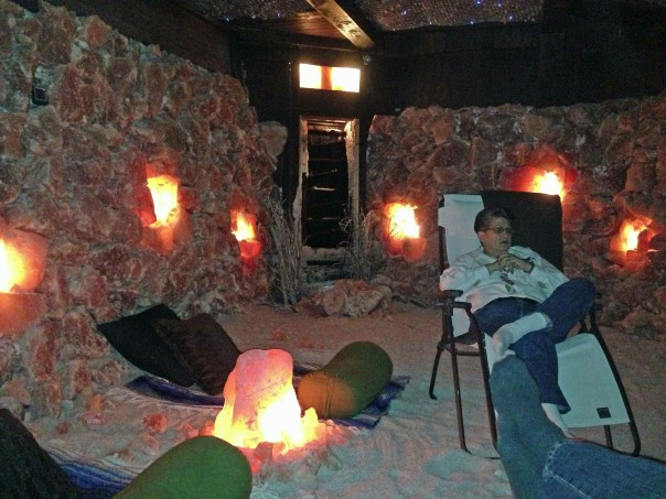 Chatting with owner Beth Appel in Asheville's Therapeutic Salt Cave.