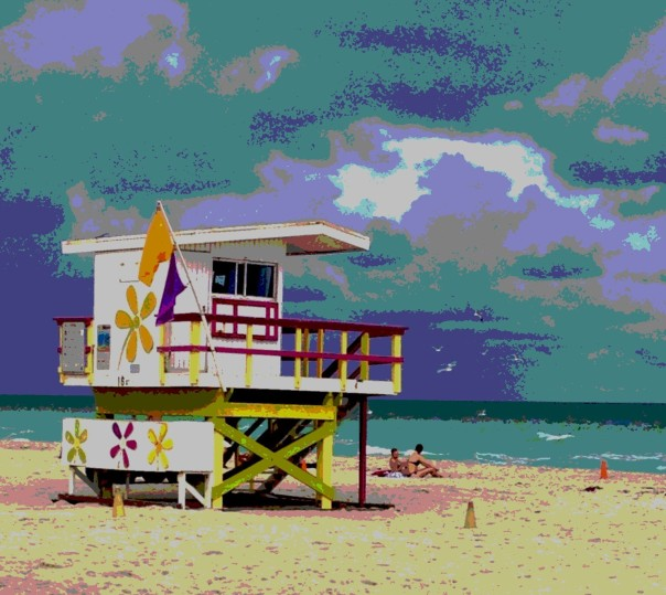 Colorful lifeguard stand on Miami Beach.