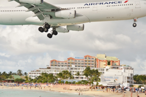 Air France jumbo jet coming in at Princess Juliana International Airport.