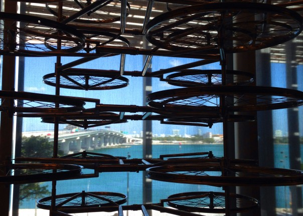 Surroundings as part of art?  Just one of the beautiful views from the new Perez Art Museum Miami (looking through some of the hundreds of bicycles re-purposed as sculpture). The facility has 120,000 ' interior area and 80,000' more terraces and exterior space.