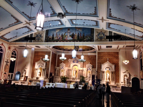 The Mediterranean Revival Style Gesu Church was built in 1925 on land donated by Henry Flagler. It houses Miami's oldest Roman Catholic parish founded in 1896, and still operates with a daily mid-day Mass.