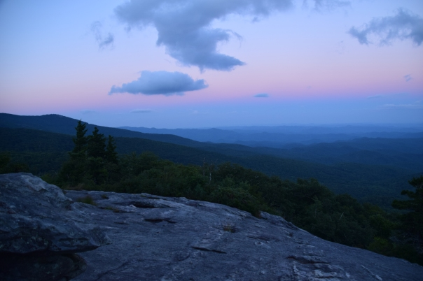 Sunset at Beacon Heights.  Just a 15-20 minute hike will bring you to some of the most glorious vistas in along the Blue Ridge Parkway.  Parking for the trail head is located off MP 305.2 at the intersection of Grandfather Mountain and Hwy 221.