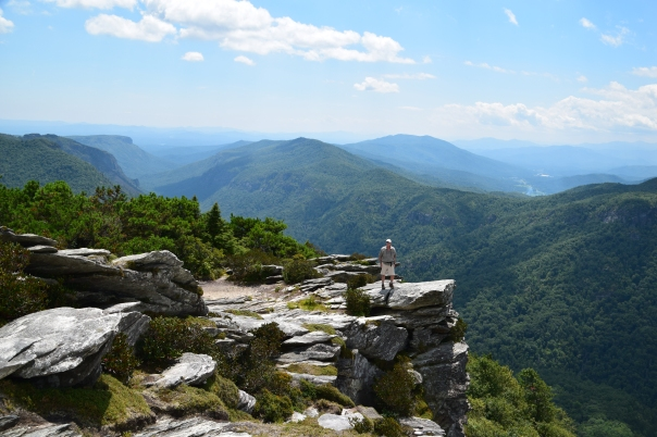 A 1.5 round-trip hike from the trailhead, takes climbers up 700' in elevation!  It's strenuous, but what's the rush . . . The Linville Gorge plummets 2,000 feet below. Located in the Pisgah National Forest, off Hwy 181.  On a really clear day they say you can even see the skyline of Charlotte from the top of Hawksbill Mountain.