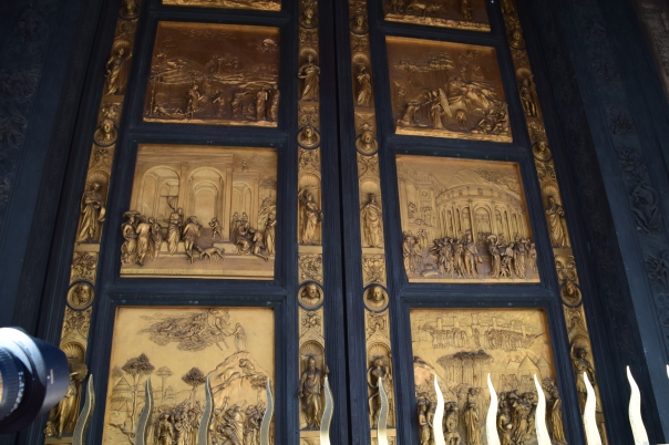 Lorenzo Ghiberti's beautiful three-dimensional Gates of Paradise from the 1400s.