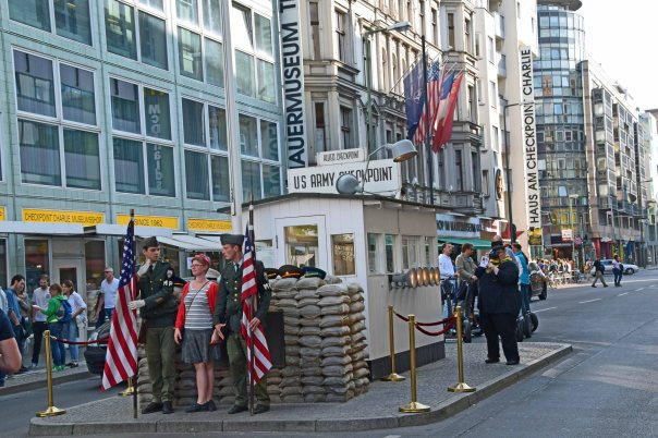 "The famous ""Checkpoint Charlie"".  Is anybody else bothered by the fact that German's are dressing up like American servicemen and posing for photos?"