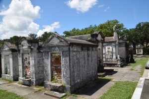 Family crypts in the Lafayette Cemetery No.1.  I should've given them some cleaning tips!
