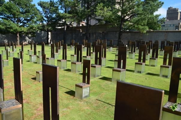 """""""Chairs"""" represent the 168 lives lost.  Their placement on the site of the Federal Building, represents its nine floors  and where each victim was located."""