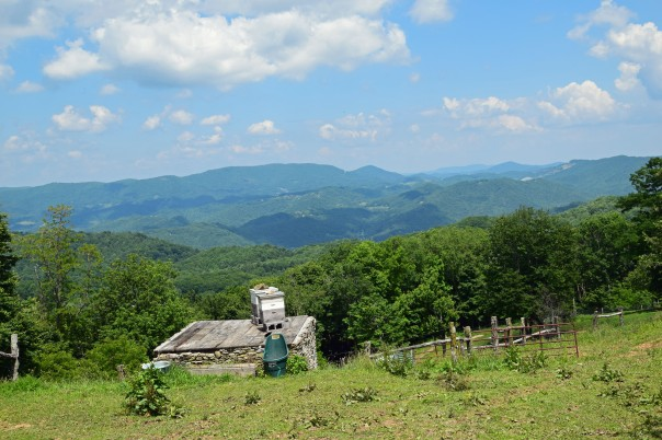 Looking towards Boone, from the horse pasture at Apple Hill Farm. The bee hives in the center were some of the only productive hives in the area last year.  The bee situation has improved and this year promises to be better.