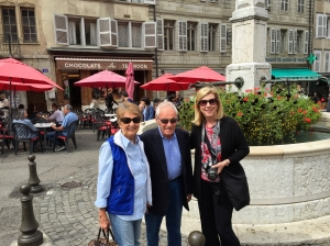 Posing with friends Eva and Bob, during our visit to  Vielle Ville.