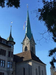 The Fraumunster Church, one of the four major churches in Zurich.
