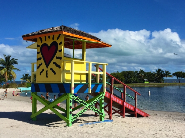 One of three colorful lifeguard stands at Homesteads Bayfront park - this one by Romero Britto. The atoll is perfect for swimming with kids and picnics.  The restaurant La Playa serves good food and has a great view of the beach and bay.