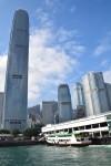 The ferry docks at Hong Kong Island.