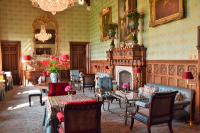 Dining, lounge areas at Ashford Castle.