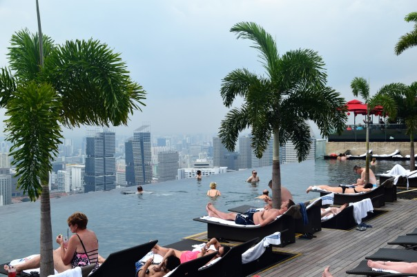 The amazing pool at the Marina Bay Sands Hotel, Singapore.
