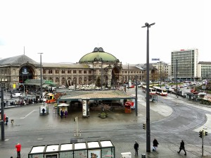 View of the train station from Le Meridien Grand Hotel, Nuremberg.