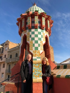 With my husband Fred on the walkable rooftop at Casa Vicens.